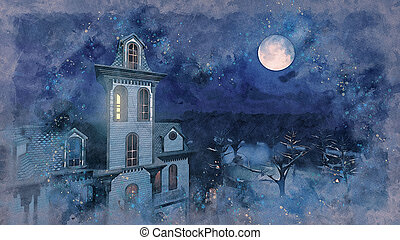 Full moon above scary mansion watercolor sketch