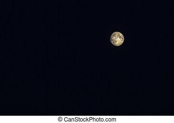 Full moon against a black starless sky