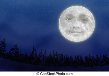 Full Moon - An illustration of a full moon with a smiley...
