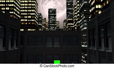 Full moon and city by night with green screen - A 3D...