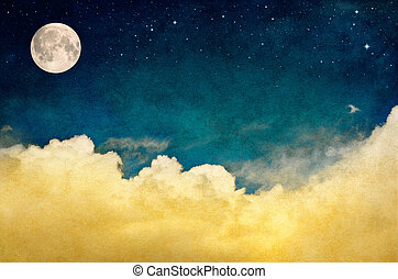 A fantasy cloudscape with stars and a full moon. This image features a pleasing paper texture and grain pattern visible at 100 percent.