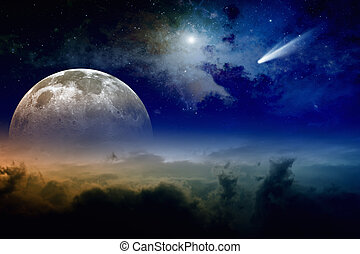 Full moon and comet - Glowing clouds, full moon rise, stars ...