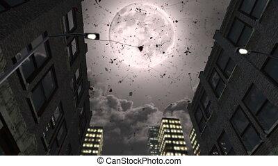 Full moon and falling romantic roses