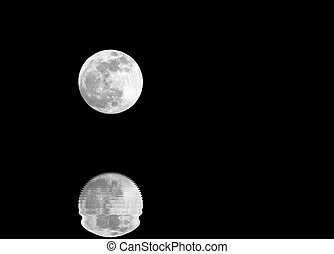 full moon and lunar reflection on the surface of the water with