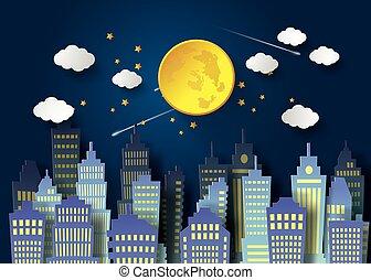Full Moon And Night Sky