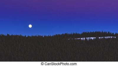 Full moon and nightfall in the Carpathians.