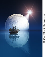 Full Moon and Star over Ship