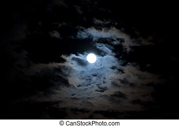 Full Moon and the clouds on the cold October night.