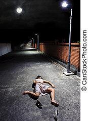 Full Moon - Asian girl lies in an empty street