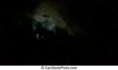 Full moon at cloudy sky, night