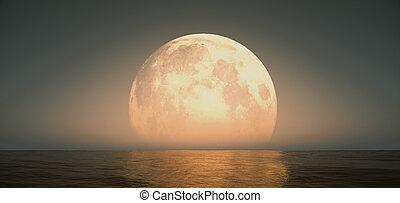 full moon at night abstract