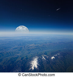 Full moon, comet and stars in dark blue space