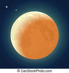 Full Moon Eclipse on a Dark Blue Sky