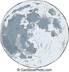 Full Moon - Cartoon illustration of the full moon.