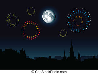 Full Moon French Quarter - Full moon and fireworks rise over...