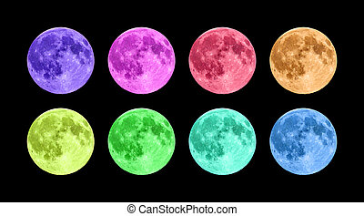 Full moon in eight colors in front of black background.