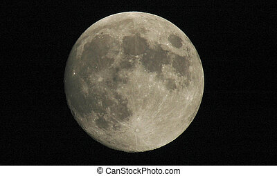 Full Moon - Full moon shot showing details of the moon\\\'s...