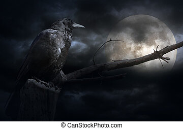 Full moon in a stormy overcast night with crow and naked ...