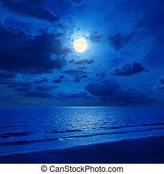 full moon in cloudy sky and sea with reflections