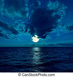 full moon in dramatic sky over water in night