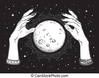 Full moon in hands of fortune teller - Hand drawn full moon...