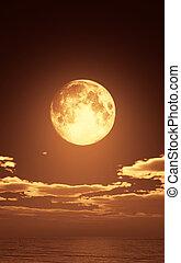 full moon in night ocean