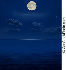 full moon in night over sea