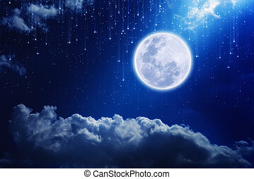 Full moon in night sky with falling stars and mysterious...
