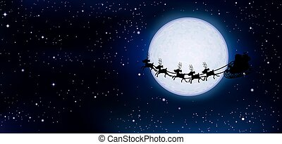 full moon in space and Santa Claus