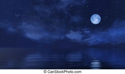 Full moon in starry night sky above ocean surface