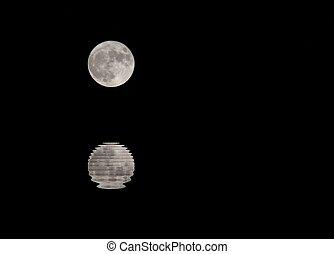 moon in the dark sky on a night