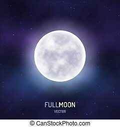 Full moon in the night starry sky. Realistic background....