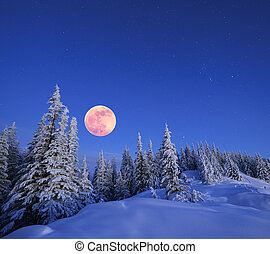 Full moon in winter - Winter landscape in the mountains at...
