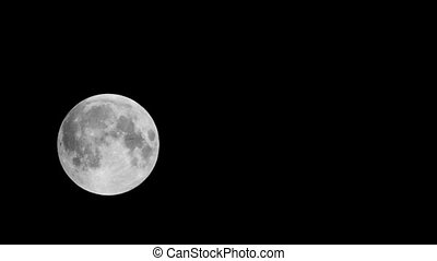 Full moon is moving across the black sky, was observed in latitude 54, Longitude: 73 Time-lapse