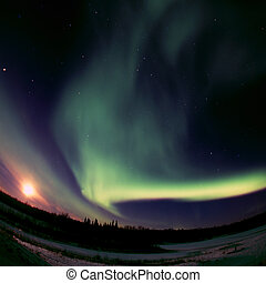 Full Moon meets Aurora Borealis