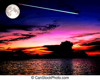 full moon meteor fall from space sky on sea in sunset