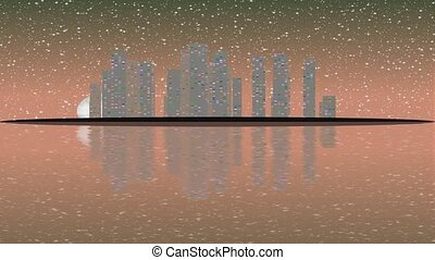 Full moon movement overlooking. The modern city skyline with...