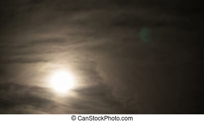 Full Moon Moves through the Clouds in the Night Sky. Timelapse