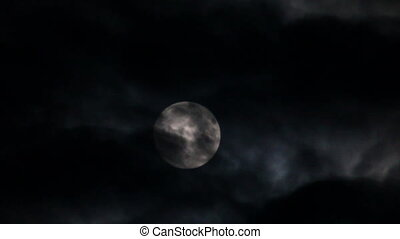 full moon moving between clouds
