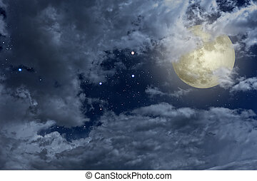 Full moon night sky with clouds and stars