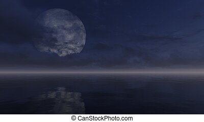 Full moon obscured by clouds above calm water