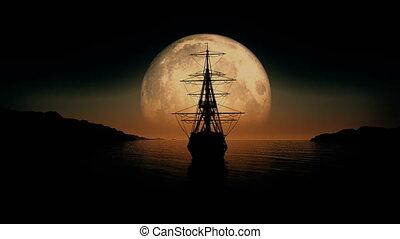 full moon old ship 4k