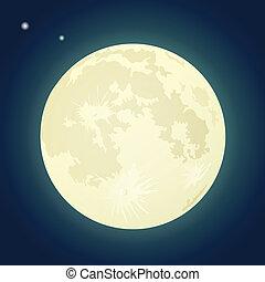 Full Moon on a Dark Blue Sky. Vector Illustration