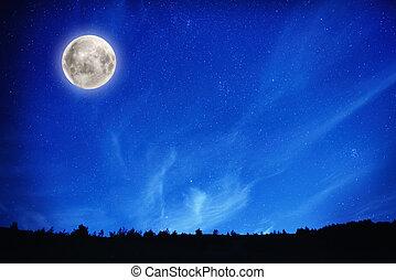 Full moon on night sky with stars