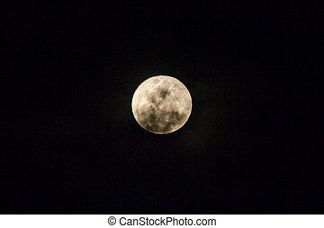 Full moon on the dark night.