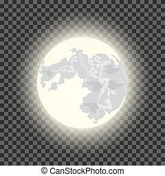 Full moon on the dark transparent background. vector...