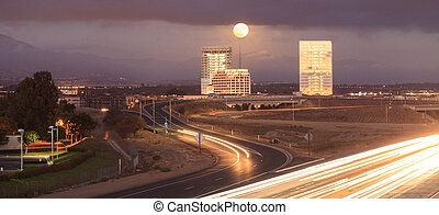 Full moon over a California highway