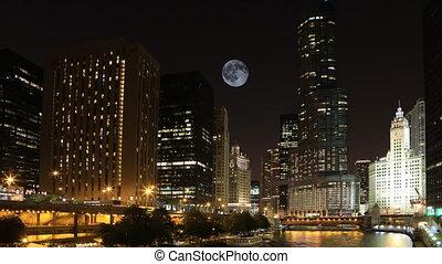 Full Moon over Chicago, Illinois