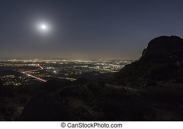 Full Moon Over Los Angeles California
