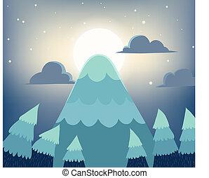Full moon over mountain peak at night landscape
